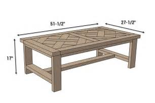 coffee table measurements diy parquet coffee table free plans rogue engineer