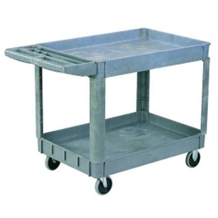 sandusky plastic utility cart w 2 shelves 40 quot x 17
