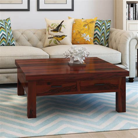 square coffee table with storage drawers solid wood 4 drawers square storage coffee table