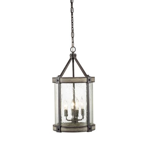 Iron Pendant Lights Shop Kichler Barrington 12 In Anvil Iron And Driftwood Rustic Hardwired Single Seeded Glass