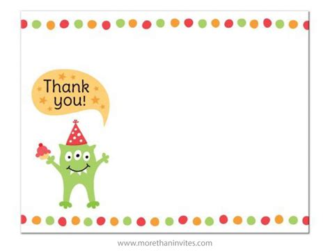 Thank You Note For Birthday Gift Card Monster With Party Hat And Cupcake Flat Thank You Note
