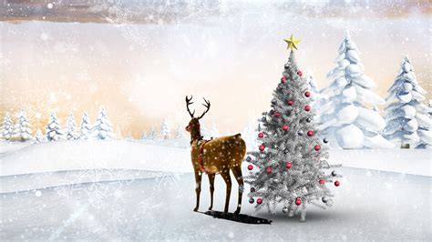 forest original christmas tree wallpaper snow winter deer tree balls forest snowflakes picture 3840x2160
