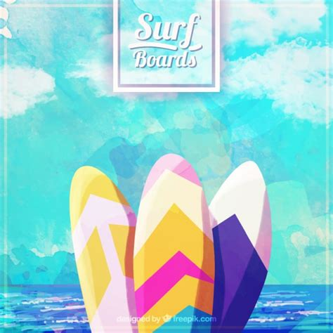 tavole water watercolor surfboards with sea background vector free