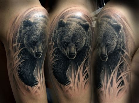 wonderful running bear tattoo on shoulder tattooimages biz