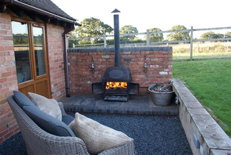backyard wood stove outside log burner keepingwarm pinterest log burner