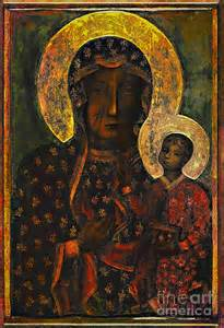 Baby Duvet Cover The Black Madonna Painting By Andrzej Szczerski
