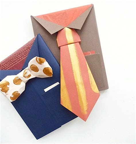 gift wrapping origami diy for s day bowtie necktie gift wrap poppytalk