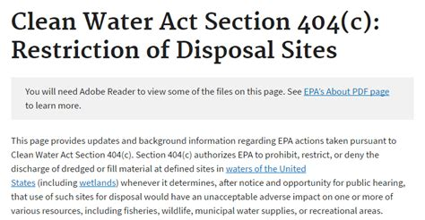 Clean Water Act Section 404 by Chairman Lamar Smith Recommends The Epa Rescind Its
