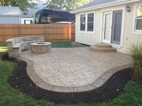 concrete patio with pit pit design ideas