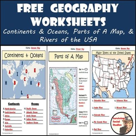 geography worksheets continentsoceans usa rivers