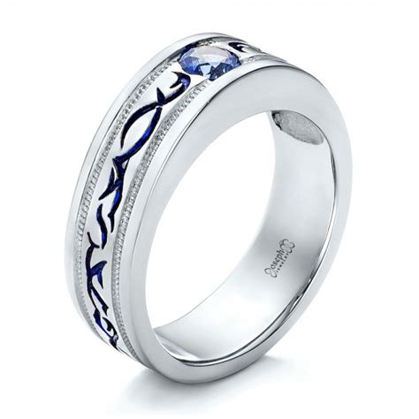 mens wedding ring sapphire custom engraved blue sapphire s wedding band 102213