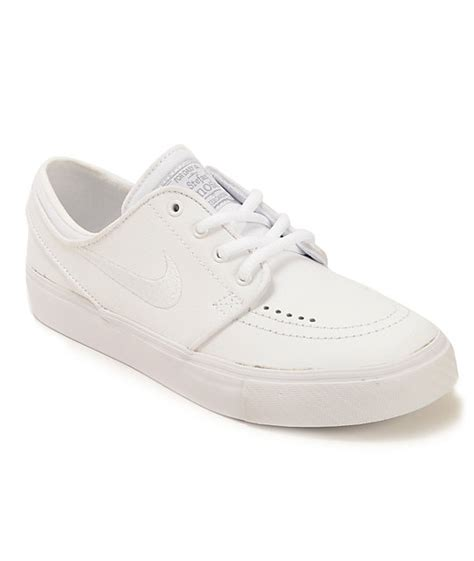 nike sb zoom stefan janoski white leather boys skate shoes