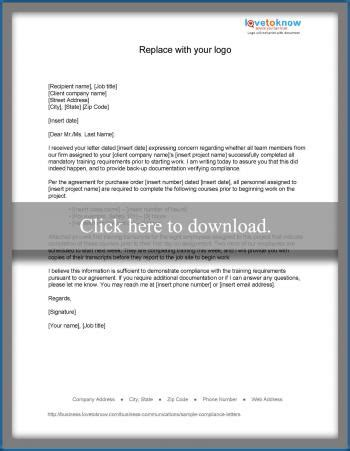 Response Letter For Non Compliance Sle Compliance Letters Lovetoknow