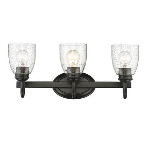 seeded glass vanity light golden lighting parrish black three light bath vanity with