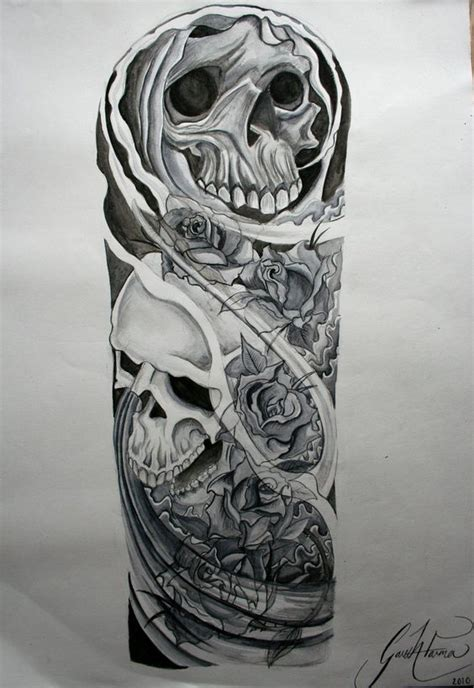 skull and rose tattoo sleeve skull half sleeve drawings projects to try