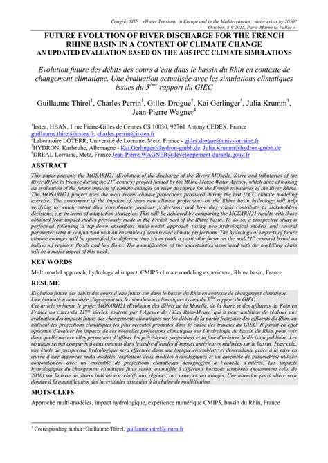 (PDF) Evolutions des débits futurs sur le bassin du Rhin