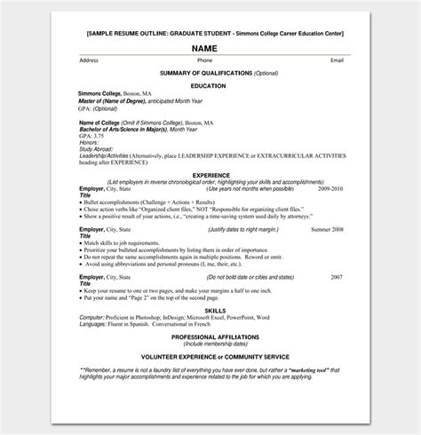 resume outline exle resume outline template 19 for word and pdf format