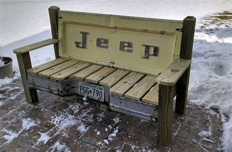 Bench Made From Tailgate Hand Made Patio Bench Featuring A Real 1970s Vintage Jeep