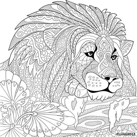 difficult lion coloring pages quot zentangle stylized cartoon lion wild cat leo zodiac