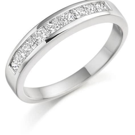 channel set princess cut semi eternity ring zoe