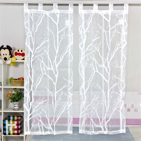 kitchen curtain pattern rod pocket type white transparent tulle curtains