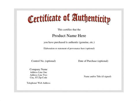 certificates of authenticity templates certificate of authenticity template certificate