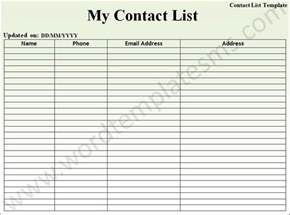 Word Contact List Template Contact List Template Download Template Word Excel Formats