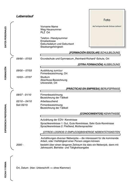 Plantillas De Curriculum Vitae En Aleman Estructura Curr 237 Culum En Alem 225 N Curr 237 Culum En Alemania Hacer Curriculum