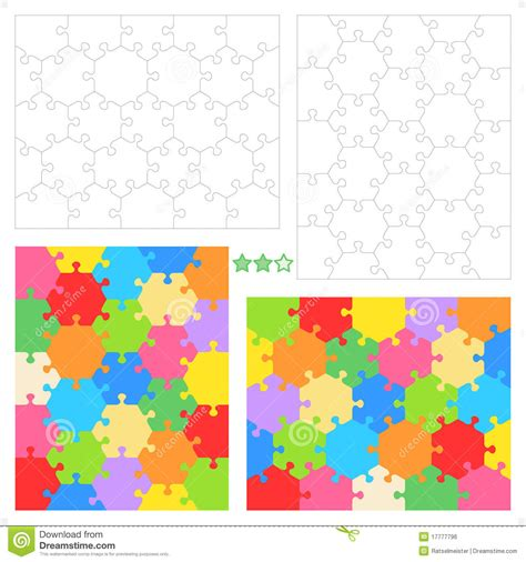 hexagon puzzle template hexagonal jigsaw puzzles stock vector image of hexagonal
