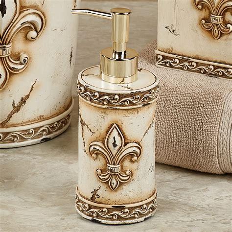aged stone fleur de lis bath accessories on com vintage