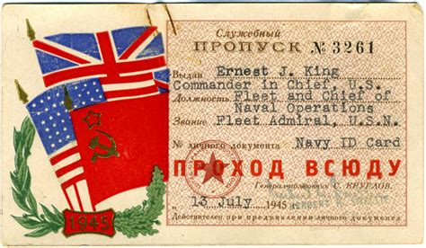 Title 21 United States Code Section 846 by Photo Ernest King S Soviet Issued Identification Card