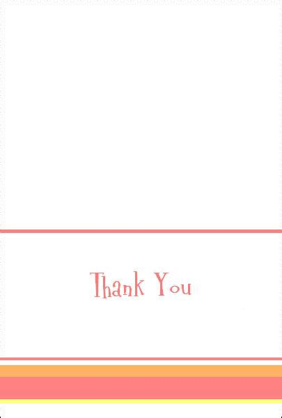 single thank you card blank template free baby shower thank you notes