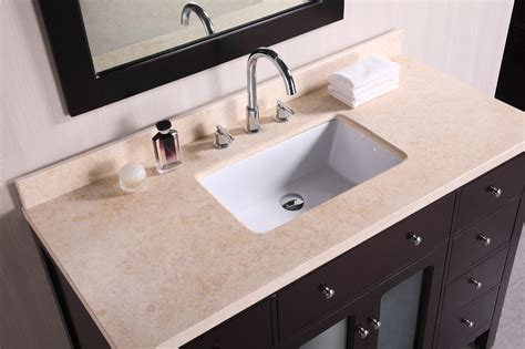 Adorna 48 inch contemporary single sink bathroom vanity set solid oak construction beige