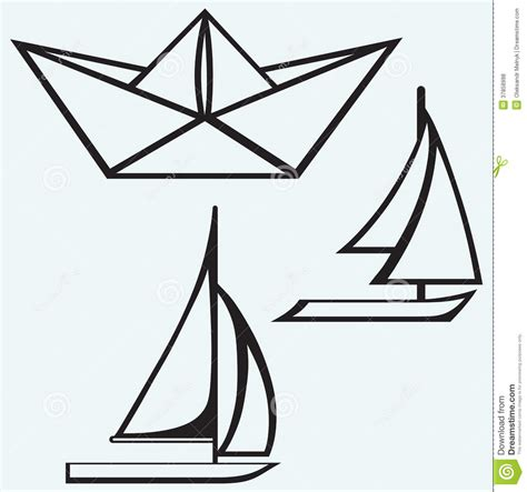 boat drawing video origami paper ship and sailboat sailing stock vector