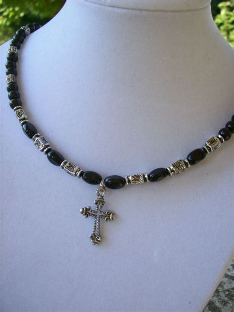 beaded cross necklace black silver