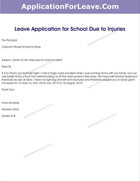 College Leave Letter After Taking Leave Sick Leave Application For Students