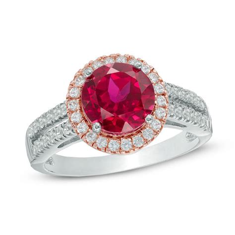 8 0mm lab created ruby and white sapphire frame ring in