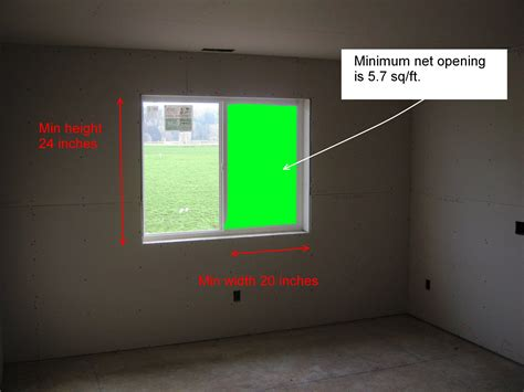 Size Of Bedroom Egress Window Residential Code Requirement For Egress Window