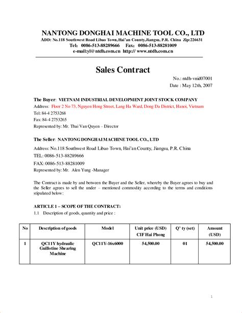 Sales Contract Template Cyberuse Sales Contract Template