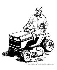 Lawn Mowing Colouring Pages sketch template