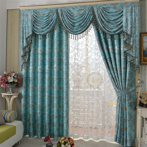 White Sheer Curtain And Blue Drapery Curtain Covering Large Glass Window Interior Charming » Home Design 2017
