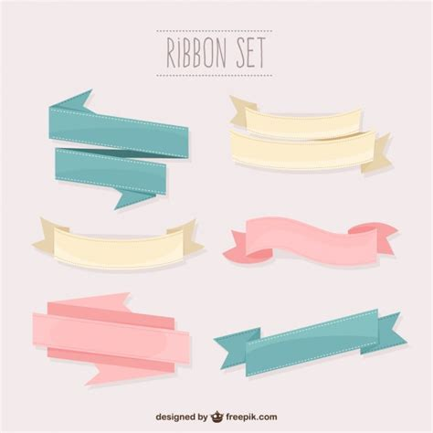 vector banner colored ribbon design free vector in pastel colors ribbons set vector free download