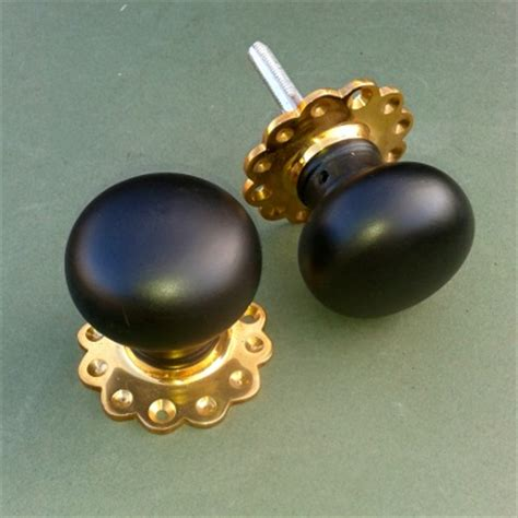 Ebonised Door Knobs by Ebonised And Brass Bun Or Mortise Door Knobs