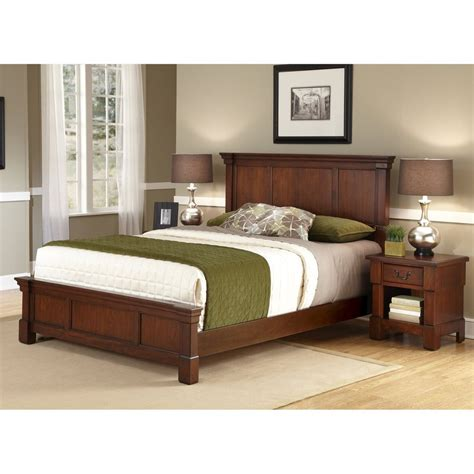 bedroom set with mattress shop home styles aspen rustic cherry king bedroom set at lowes com