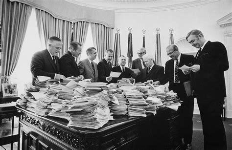 Cabinet Members Title by Nixon Cabinet Members Reading Telegrams By Everett
