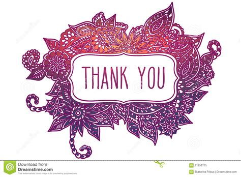 doodle you thank you colored doodle frame stock vector image 61952715