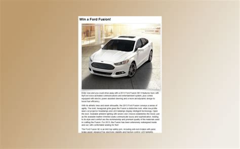 Www Firstforwomen Com Sweepstakes - win a ford fusion sweepstakes sweepstakes directory