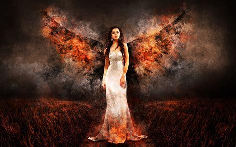 wallpaper  angel fantasy fire wings background hd image