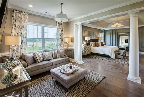 Traditional Master Bedroom with High ceiling & Hardwood