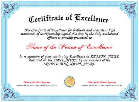 free printable certificate of excellence template certificate of excellence